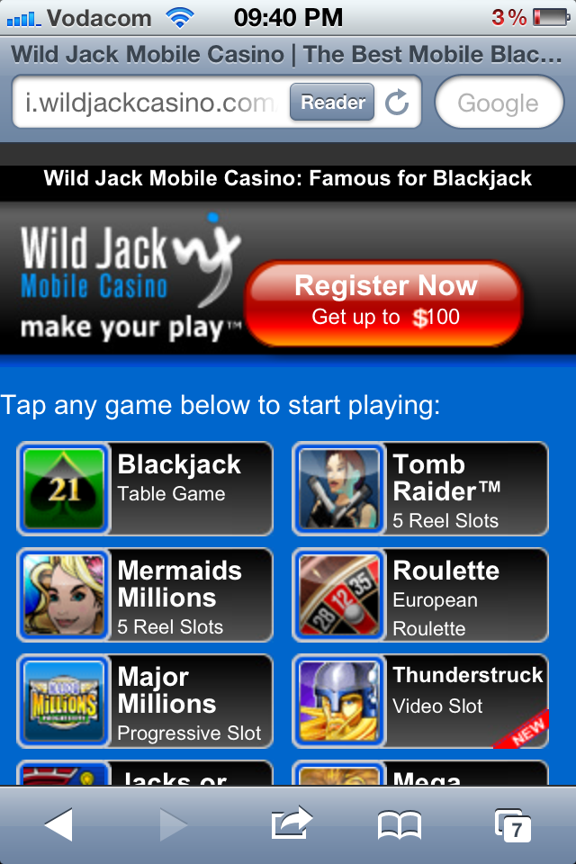 How to play at Wild Jack Mobile - Step2