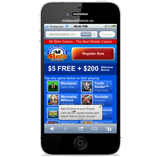 How to play at All Slots Mobile - Step2