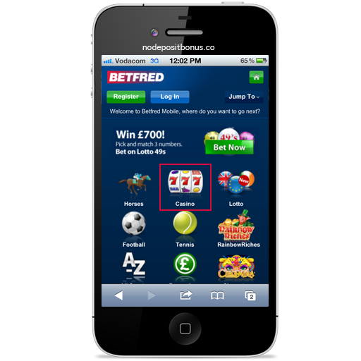 How to play at BetFred Mobile - Step2